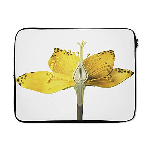 Laptophoes 17 inch 41x32 cm - Sint-Janskruid - Macbook & Laptop sleeve Dwarsdoorsnede van de gele kleuren van het sint-janskruid - Laptop hoes met foto