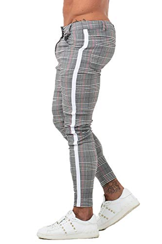 GINGTTO Mens Trousers Slim Fit Stretch Slacks for Men Chino Pants Skinny Grey 34