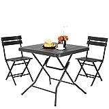 femor Juego de muebles de jardín de 3 piezas, juego de asientos con patas de marco de acero, muebles de balcón plegables, de plástico HDPE, para 2-4 personas
