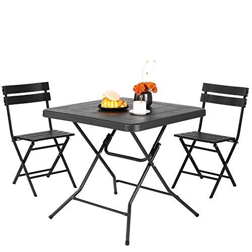 Femor Salon de Jardin Exterieur 2 Personnes, 2 Chaises & 1 Table Basse Pliante, Set de Balcon, Ensemble de Meuble de Jardin Pliable, HDPE, pour Jardin, Balcon, Terrasse, Cour (Grain de Bois Noir)