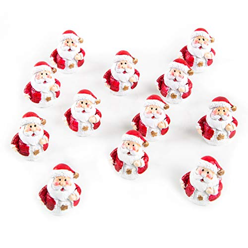 Logbuch-Verlag 12 kleine Mini Weihnachtsmänner rot weiß Gold Nikolaus Figuren Deko Weihnachten Geschenk Kunden Kinder Freunde