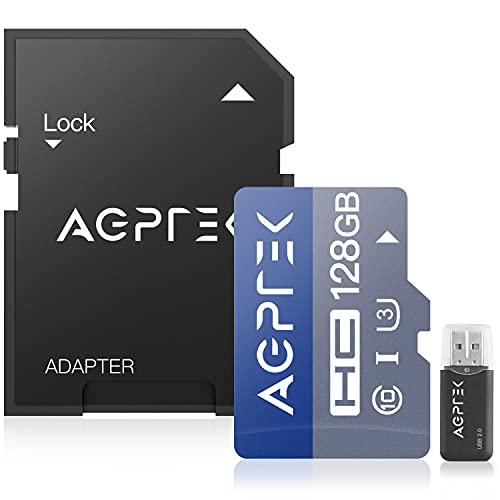 AGPTEK 128 GB Micro SD-Karte mit Kartenleser und Adapter, UHS-I U3, Klasse 10, Lesegeschwindigkeit bis zu 100 MB/S