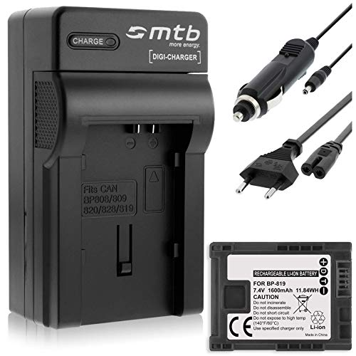 Batería + Cargador (Coche/Corriente) para Canon BP-819 / Legria HF G10, G25, M31, Vixia. Ver Lista!