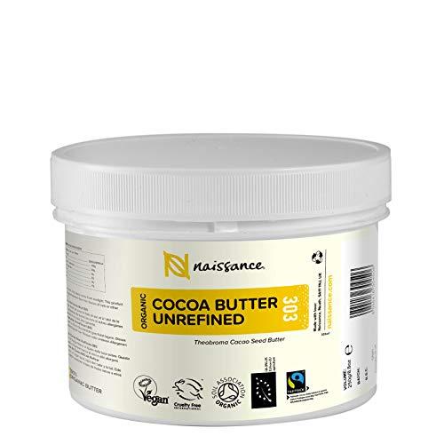 Naissance Manteca de Cacao BIO n. º 303 – 250g - Pura, natural, certificada ecológicamente, vegana, no OGM - Ideal para recetas cosméticas DIY.