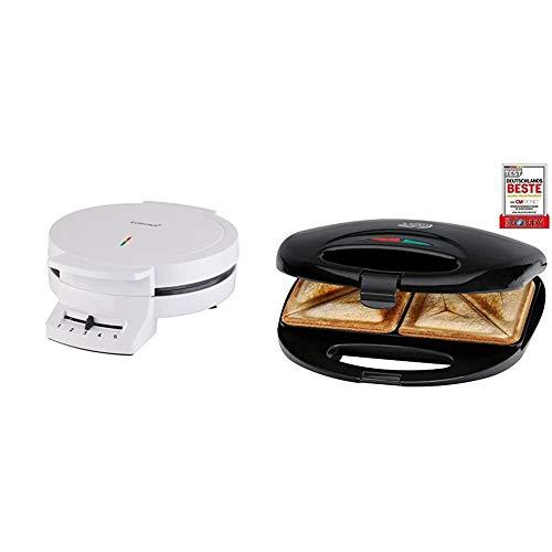 Korona 41001 Waffelautomat - Waffeleisen weiss für Herzform & Clatronic ST 3477 Sandwichtoaster, 3-eckige Sandwichplatten, automatischer Temperaturregler, mit 2 Kontrollleuchten, schwarz