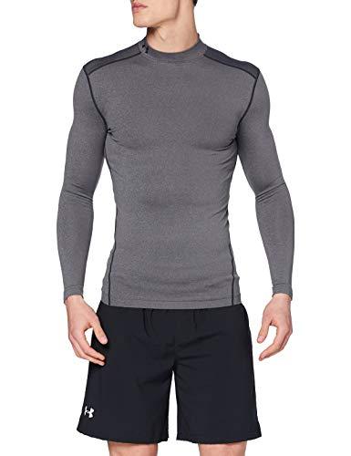 Under Armour Men's ColdGear Armour Compression Mock Long Sleeve T-Shirt , Carbon Heather (090)/Black , Large