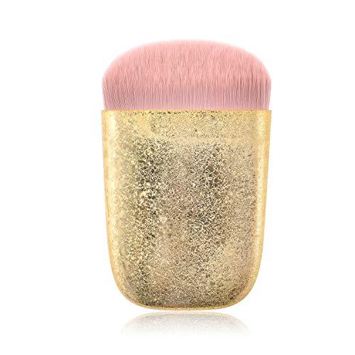 Prime Deals Day Deals 2020-Bling Glitter Diamond Makeup Brush Soft Nylon Bristles Premium Flat Head Plastic Frosted Handle Kabuki Makeup Brush for Liquid Foundation Brushes Women Gifts (Gold)