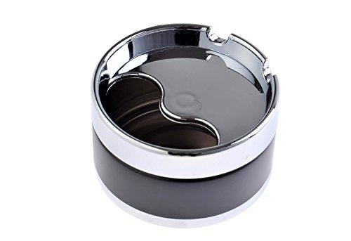 The Khan Outdoor & Lifestyle Company Quantum Abacus Eleganter Runder Windaschenbecher aus Zinklegierung, schwarz, 8cm Durchmesser, Mod. 778-01 (DE)