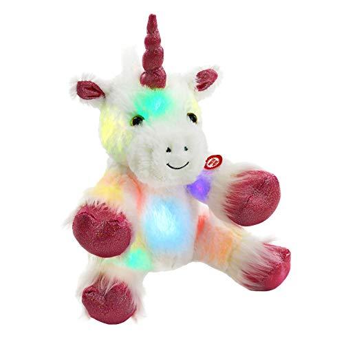 WEWILL Glow Unicorn LED Stuffed Animal Soft White Plush Toy Nightlight Companion Gift for Kids on Christmas Birthday Any Festivals, 12''