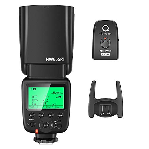 Neewer NW655-C 2.4G HSS 1/8000s TTL GN58 Wireless Master Slave Flash Speedlite with Trigger Compatible with Canon DSLR 800D/750D/700D/650D/600D/7D2/7D/6D2/6D/5D4/5D3/5D2/5DS/1D4/1D3/80D/EOSR Cameras