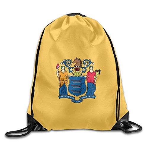 American Oregon State Flag Sackpack Drawstring Bags Polyester Backpack Outdoor Sports Gym Bag Yoga Runner Daypack Team Training Gymsack Big Capacity (Twin Sides) American New Jersey State Flag
