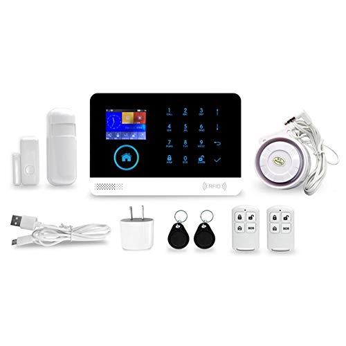 likeitwell Kit de Sistema de Alarma antirrobo, Wireless gsm y WiFi Alarma Smart Home Oficina intruso Seguridad con Detector de Movimiento PIR y Detector de Ventana de Puerta