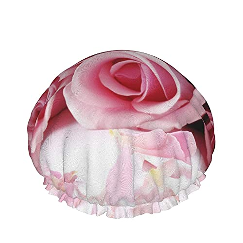 Día de san valentín, Rosas Impermeable Gorro de Ducha con Elástico Dobladillo Diseño Reversible para la Ducha para Dormir Bonnet Tapa para Todas las Longitudes de Pelo
