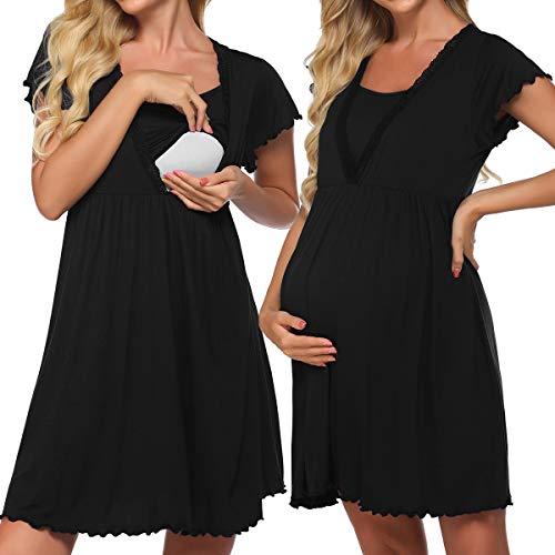 Meaneor Nachtkleid für Schwangere Damen mit Stillfunktion Umstands-Nachthemd Stillnachthemd Umstands-Pyjama