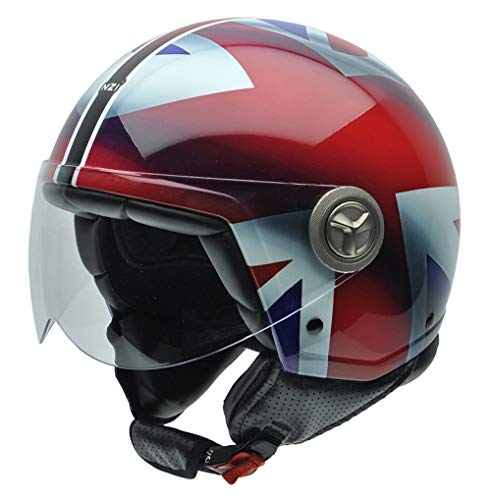 NZI 3D Vintage II Union Jack Casco de Moto, Blanco/Azul/Rojo Detalle Bandera Británica, M