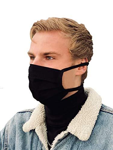 Schwarze Mund-Nasen-Maske, waschbare Gesichtsbedeckung/Community-Maske aus 100% Baumwolle: unisex, atmungsaktiv, handgefertigt in Deutschland