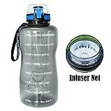 QuiFit 2L Grau EIN klick Deckel Tritan Sportflasche Wasserflasche Mit aufgedruckter Trinkermutigung & Fruchtsieb Große Drinkflasche BPA Freier