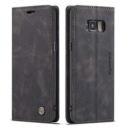 QLTYPRI Hülle für Samsung Galaxy S8, Vintage Dünne Handyhülle mit Kartenfach Geld Slot Ständer PU Ledertasche TPU Bumper Flip Schutzhülle Kompatibel mit Samsung Galaxy S8 - Schwarz