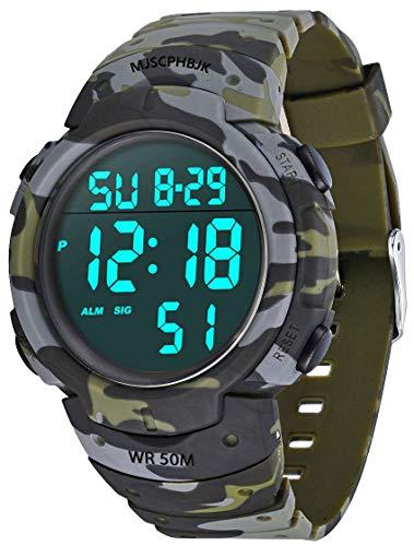 MJSCPHBJK Mens Digital Sports Watch, Waterproof LED Screen Large Face Military...