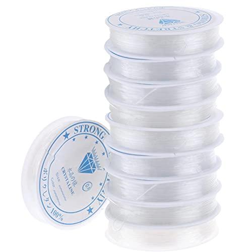 COSEAN Joyería Cordón, La cuerda Elástica, 0.8mm Hilo Elástico Transparente para Pulsera, Hilo de Abalorios Invisible de Nylon Para Fabricación de Joyas Enfilar Collar 80m/Rollo