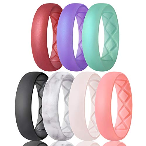 Egnaro Inner Arc Ergonomic Breathable Design, Silicone Wedding Ring for Women, Women's Silicone Wedding Band