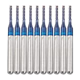 Nrpfell Broca de Corte de Fresadora de Carburo de 10 Piezas, Broca de Grabado de Molino de Extremo de MaíZ Azul para Maquinaria de PCB CNC de 1,4 Mm