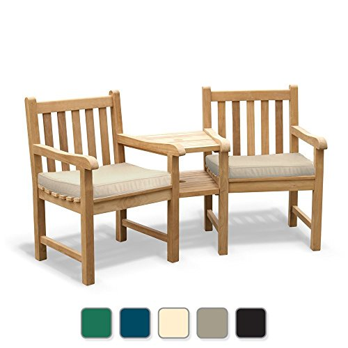 Jati York Teak Love Seat - FULLY ASSEMBLED Tete a Tete Companion Bench including Natural Cushions Brand, Quality & Value