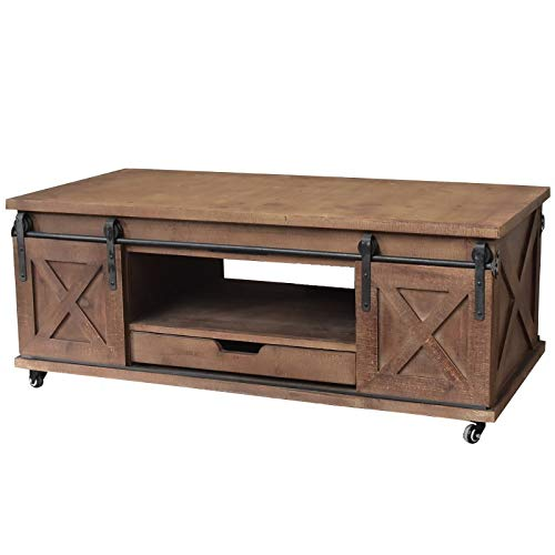 chemin_de_campagne Grande Table Basse de Salon Bois Fer Porte à roulettes 120x60x45 cm