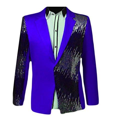 Aooword-men clothes Herren sequin shirt sweatshirt verein stitching 1 button freizeit blazer Small Royal Blau