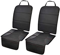 Car Seat Protector 2 Pack for Child Car Seat, Auto Seat Cover Pad Under Baby Carseat, Full Protection for Your Fabric and Leather Seats, Black Hem
