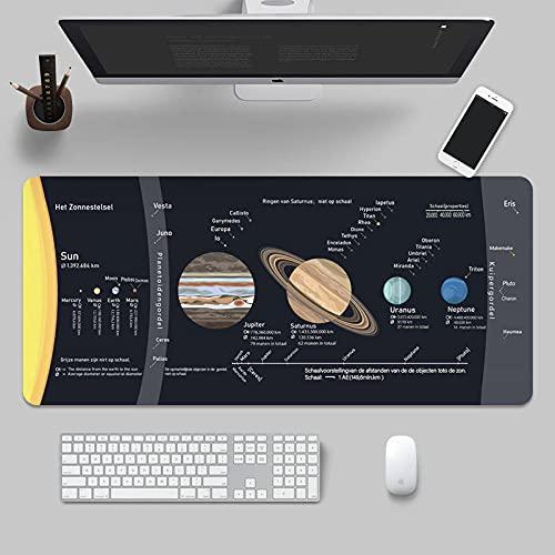 Tapis de Souris Gaming Tapis de Souris de Jeu Grand système Solaire Cosmique 3Mm d'épaisseur Tapis de Souris étendu Tapis de Bureau antidérapant résistant aux éclaboussures-11.8' X35.4