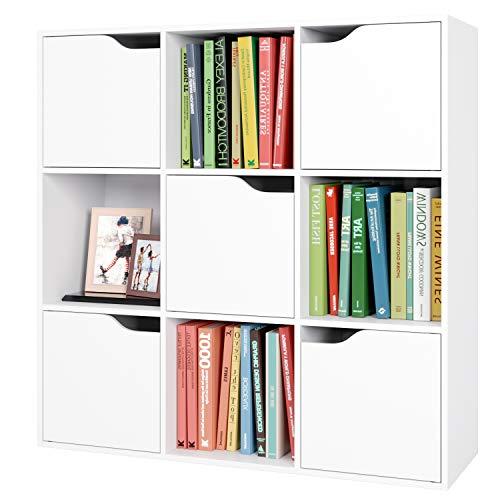 Librería Estantería Pared para Libros Estantería Madera Mueble Almacenaje con 9 Cubos y 5 Puertas para Oficina Estudio Salón 90x29x90cm