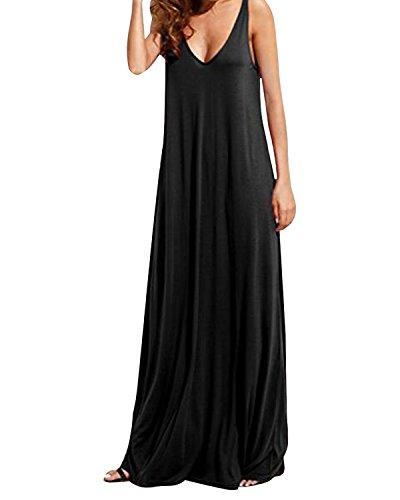KIDSFORM Women's Summer Dress Sexy Sleeveless Deep V Backless Maxi Sundress Casual Beach Long Dresses Black L