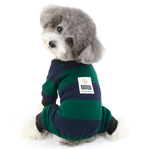 Ranphy Stripe Pet Dog Clothes Pajamas Daisy Coat Jumpsuit Soft Cotton Pjs Puppy Sweater Shirt Doggie Warm Knitted Onesie Outfit Sleeping Rompers Pet Apparel Green M