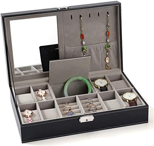 Reloj Organizador con Espejo Maquillaje Reloj Organizador Joyero Caja de joyería Collar Pendiente Caja para Guardar Relojes y Joyas (Color: Negro, Tamaño: 33.5x20.5x9cm)