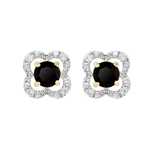 Gemondo 9Karat Gelb Gold Schwarz Onyx Ohrstecker und abnehmbarer Diamant Blume Ohr Jacke