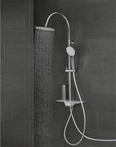 SCHÜTTE AQUASTAR Duschsystem ohne Armatur mit Ablage und Edelstahl Duschkopf, Komplett Dusch-Set (Regendusche mit Wandhalterung, Duschsäule, Handbrause und Brauseschlauch) Weiß 60520