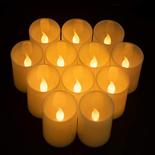 Furora LIGHTING Flameless LED Votives Candles Battery Operated Candles with Realistic Flickering Flame Ideal for Wedding Decor, Halloween Decor, Home Decor, Christmas Décor - Pack of 12