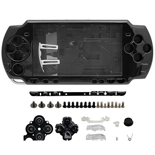 OSTENT Full Housing Shell Faceplate Case Parts Replacement Compatible for Sony PSP 2000 Console Color Black