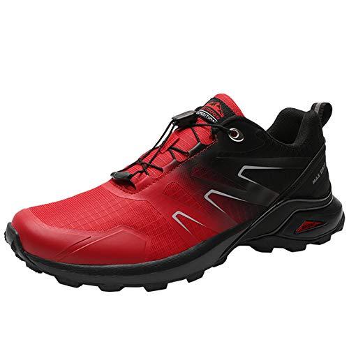 Willsky Excursión Los Zapatos De Los Hombres A Prueba De Agua Al Aire Libre Trekking Formadores De Poca Altura, Antideslizante Del Choque Trail Running Zapatillas De Deporte,Rojo,50EU