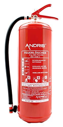 Feuerlöscher 9kg ABC Pulverlöscher mit Manometer 15LE, EN 3 inkl. Wandhalterung & ANDRIS® Prüfnachweis, Löschmittel:ABC Pulver