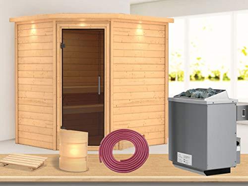 SAUNELLA Sauna mit Ofen | Gartensauna - Saunakabine Maße: 224 x 184 x 202 cm | Saunaofen Komplett Sauna Zubehör | Saunaofen mit int. Steuerung