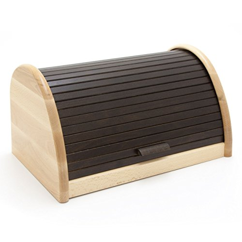 HolzFee BK-BR Buche Brot-Kasten 39 cm Holz Brotbox Rollkasten (Mocca)
