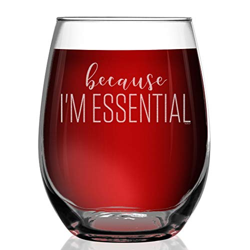Shop4Ever Because I'm Essential Engraved Stemless Wine Glass Funny 2020 Essential Worker