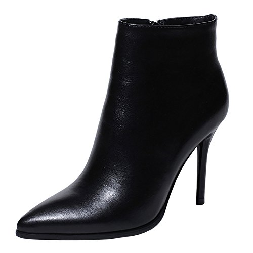 VOCOSI Women's Black Leather Ankle Boots Thin Heels Pointy Toe Zipper Daily Wear Booties Black 7.5 US