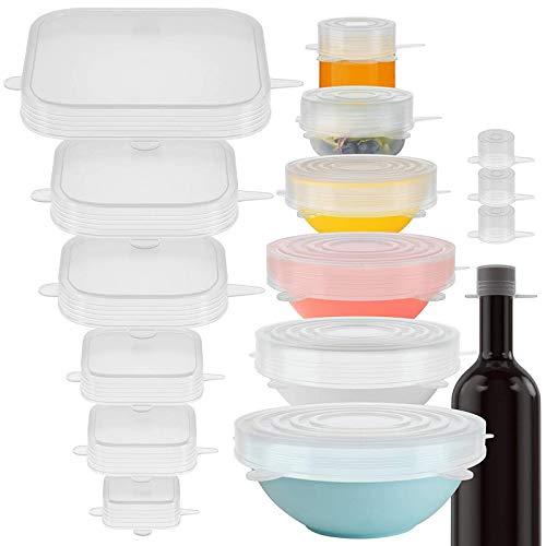 Cuasting Tapas elásticas de silicona con 16 tapas elásticas herméticas para almacenamiento de alimentos y mantenimiento fresco, reutilizables para cubrir alimentos abrazos