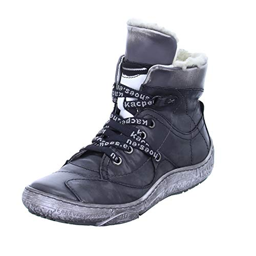 Kacper 4-4934 Damen Stiefelette Ankle-Boots Winterboots Lederschnürer Echtleder Warmfutter Farbe: Grau Größe 37 EU