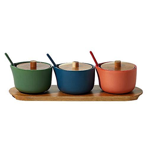 ZLDGYG Herramienta de Botella de condimento de Pimienta de cerámica de Tres Colores de Sal Creativa con Tapa, Tarro de condimento con Base de Madera