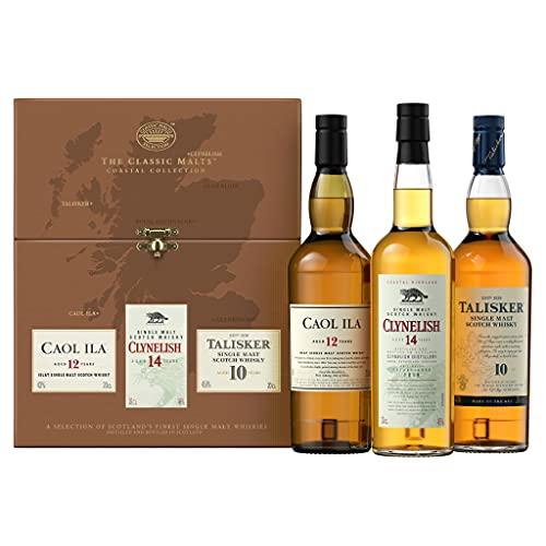 The Classic Malts Coastal Collection, Single Malt Whisky Pack mit Talisker 10 Jahre, Caol Ila 12 Jahre, Clynelish 14 Jahre (3 x 0.2 L)