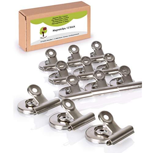 OfficeTree 12 clips magnéticos Imanes - 37 x 28 x 30 mm - con adhesivo antiarañazos - adhesión extra fuerte a la pizarra, al tablero magnético y a la pizarra - plata